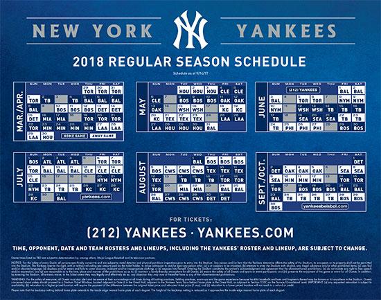 2018 MLB Baseball: New York Yankees Regular Season Schedule